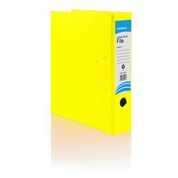 Initiative Lever Arch File A4 Yellow Metal Shoe and Thumbring (10 Pack)