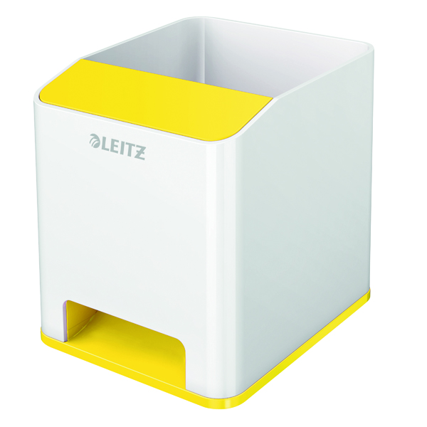 Leitz WOW Sound Pen Holder Dual Colour White/Yellow 53631016