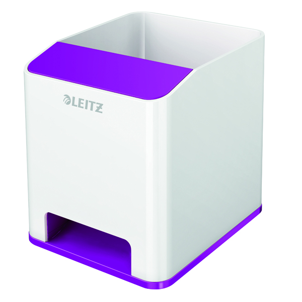 Leitz WOW Sound Pen Holder Dual Colour White/Purple 53631062