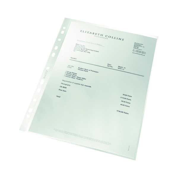 Leitz Punched Pockets Recycled A4 (100 Pack) 4791-10-03