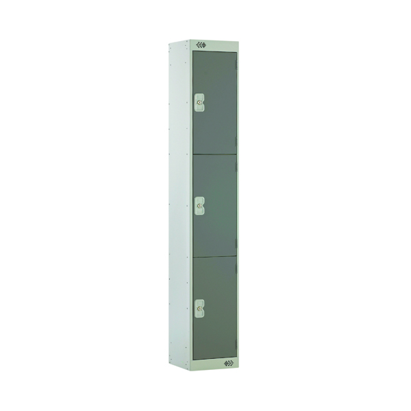 Dark Grey Door 300mm Deep Three Compartment Locker MC00015