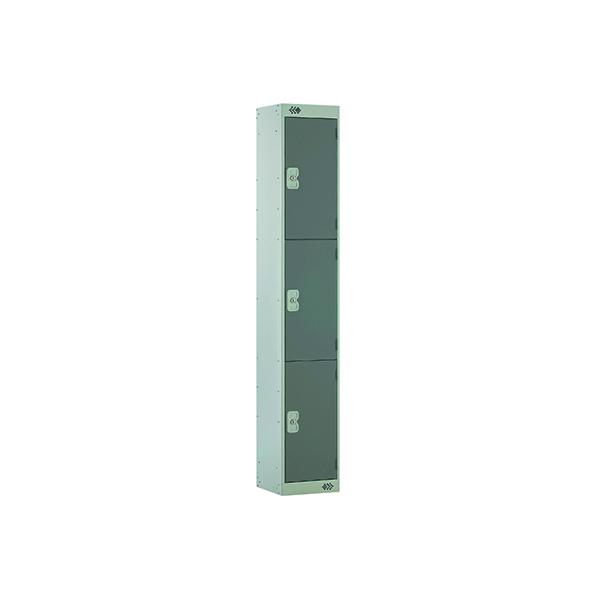 Dark Grey Door 300mm Deep Three Compartment Locker MC00015