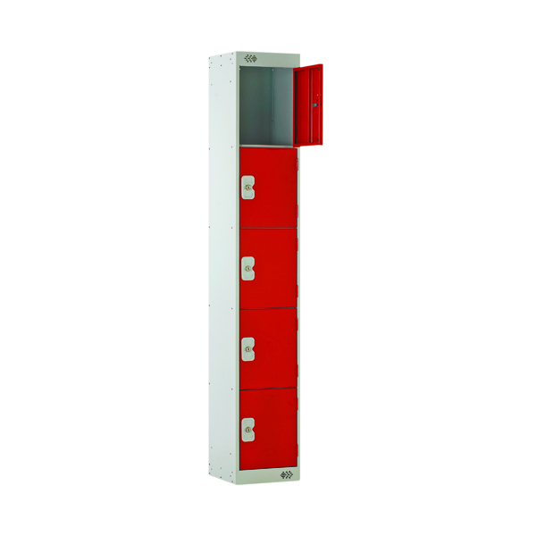 Five Compartment Locker 450mm Red Door MC00065