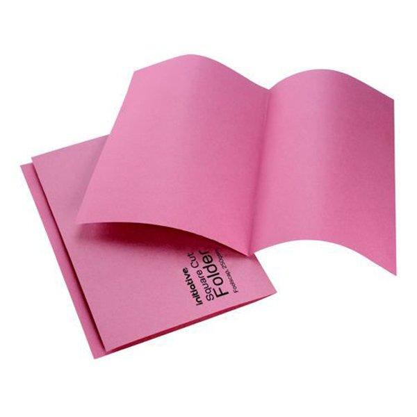 Initiative Square Cut Folders Mediumweight 250gsm Foolscap Pink (100 Pack)