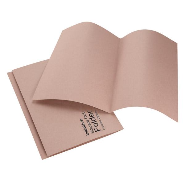 Initiative Square Cut Folders Mediumweight 250gsm Foolscap Buff (100 Pack)