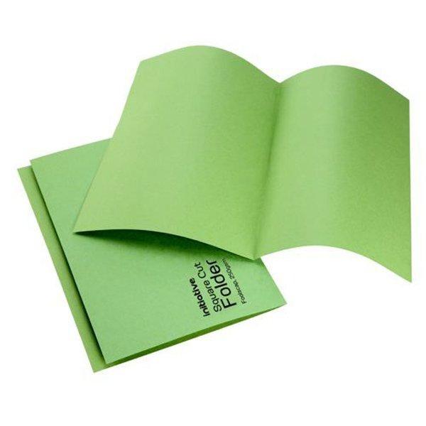 Initiative Square Cut Folders Mediumweight 250gsm Foolscap Green (100 Pack)