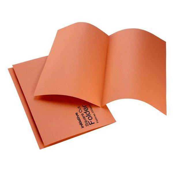 Initiative Square Cut Folders Mediumweight 250gsm Foolscap Orange (100 Pack)