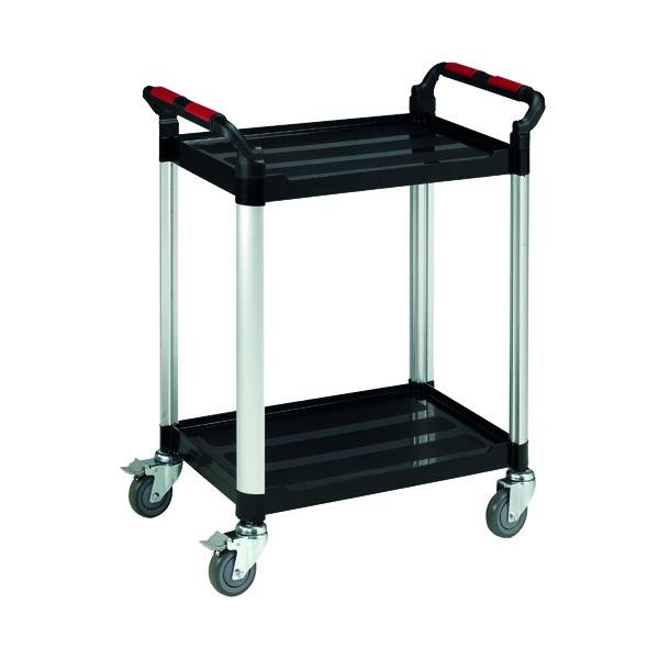 Barton Black and Silver 2 Shelf Standard Plastic Trolley WHTT2SS
