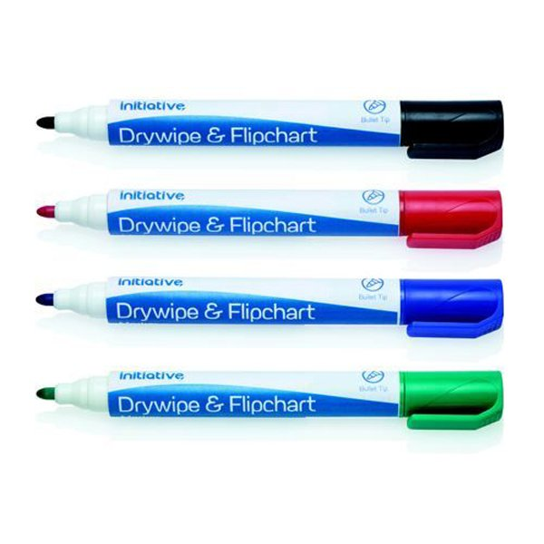 Initiative Drywipe and Flipchart Marker Xylene Free Water Resistant Assorted Wallet (4 Pack)