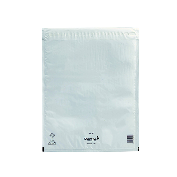Mail Lite Tuff Bubble Lined Postal Bag Size K/7 350x470mm White (50 Pack) 103015256