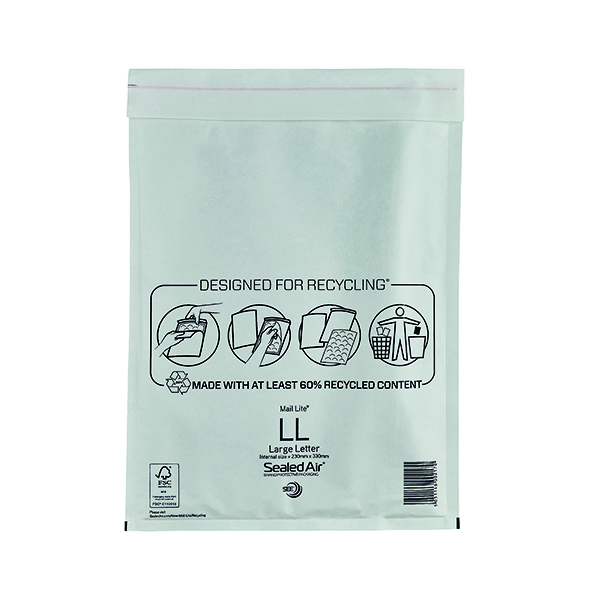 Mail Lite Bubble Lined Postal Bag Size LL 230x330mm White (50 Pack) MAIL LITE LL