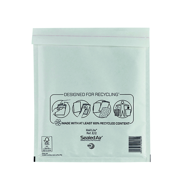Mail Lite Bubble Lined Postal Bag Size E/2 220x260mm White  (100 Pack) MLW E/2