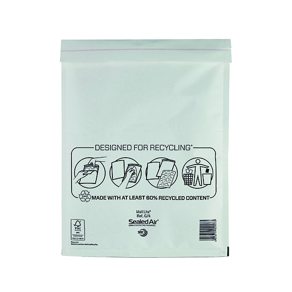 Mail Lite Bubble Lined Postal Bag Size G/4 240x330mm White  (50 Pack) MLW G/4