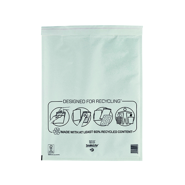 Mail Lite Bubble Lined Postal Bag Size K/7 350x470mm White (50 Pack) MLW K/7