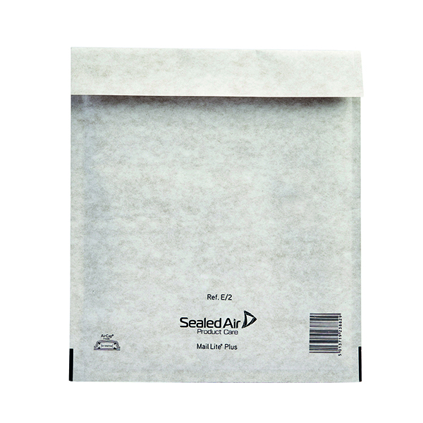Mail Lite Plus Bubble Lined Postal Bag Size E/2 220x260mm Oyster White (100 Pack) MLPE/2