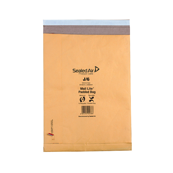 Mail Lite Padded Postal Bag Size J/6 314x450mm Gold (50 Pack) 100943512