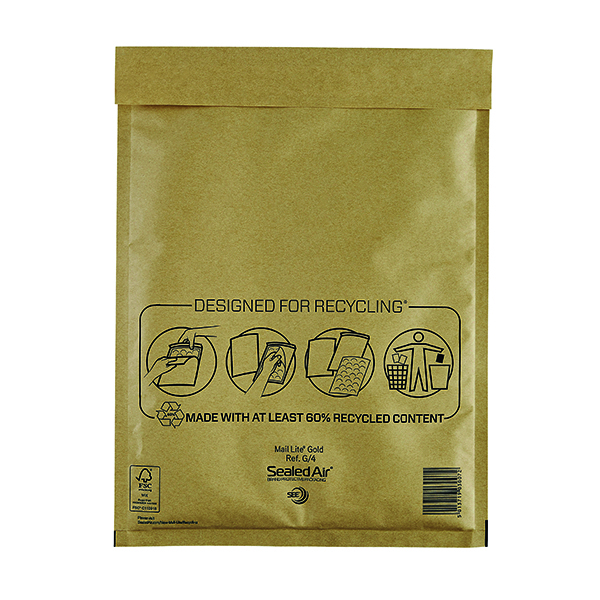 Mail Lite Bubble Lined Postal Bag Size G/4 240x330mm Gold (50 Pack) MLGG/4