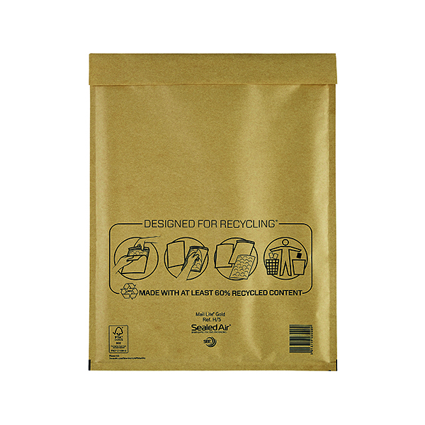 Mail Lite Bubble Lined Postal Bag Size H/5 270x360mm Gold (50 Pack) 103027407