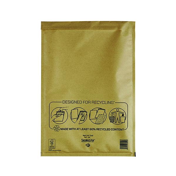 Mail Lite Bubble Lined Postal Bag Size J/6 300x440mm Gold (50 Pack) MLGJ/6