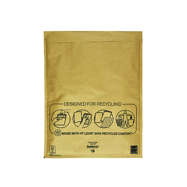 Mail Lite Bubble Lined Postal Bag Size K/7 350x470mm Gold (50 Pack) MLGK/7