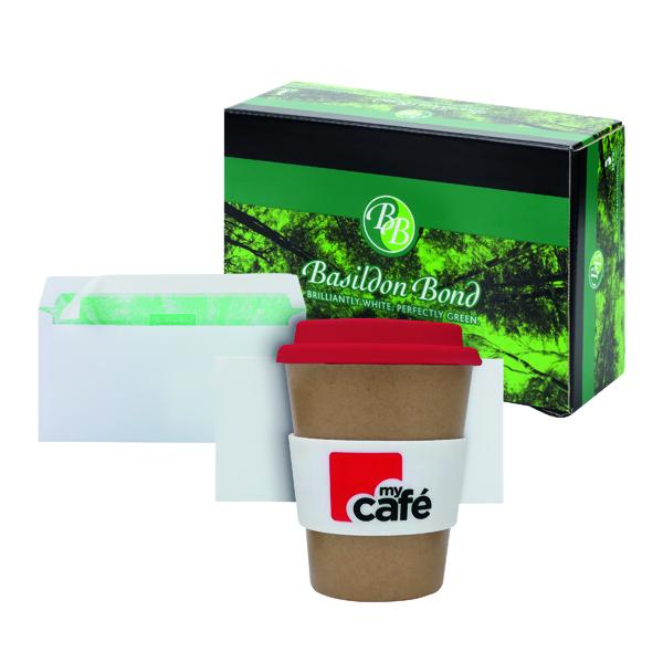Basildon DL Envelopes White (500 Pack) FOC MyCafe Bamboo Mug MYC100002