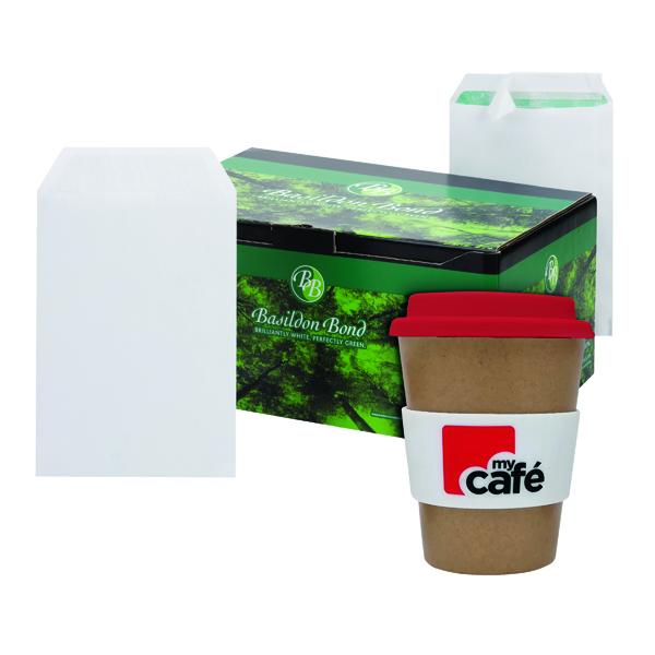 Basildon C5 Envelopes White (500 Pack) FOC MyCafe Bamboo Mug MYC100004