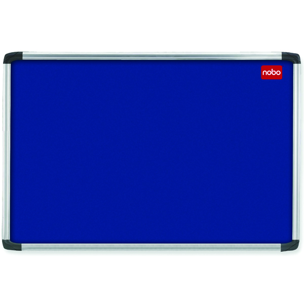 Nobo EuroPlus Blue Felt Noticeboard with Fixings and Aluminium Frame, 900 x 600 mm