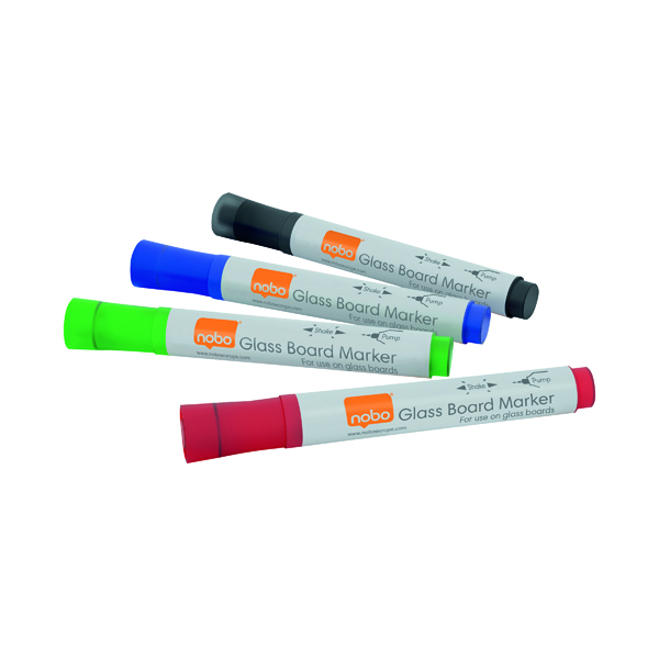 Nobo Glass Whiteboard Markers Assorted (4 Pack) 1905323