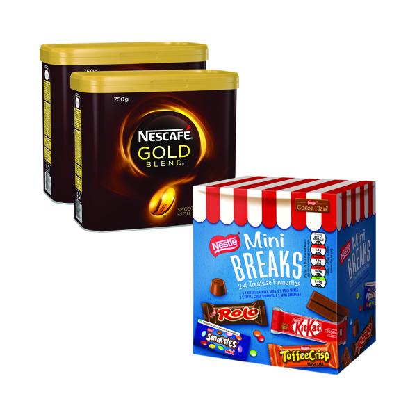 Nescafe Gold Blend 2x750g FOC Mini Breaks Mixed Selection (24 Pack) NL819842