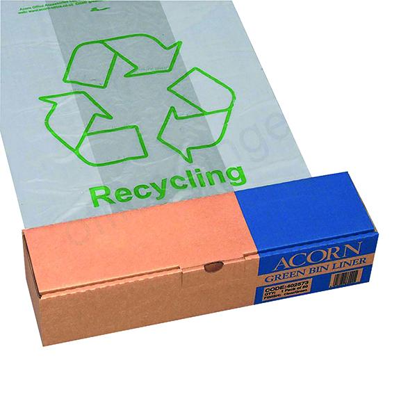 Acorn Bin Printed Recycling Bin Liner Clear Green (50 Pack) 402573