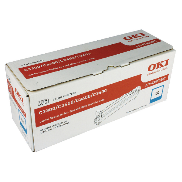 Oki C3300/C3400/C3450 Cyan Image Drum EP Cartridge 15K 43460207