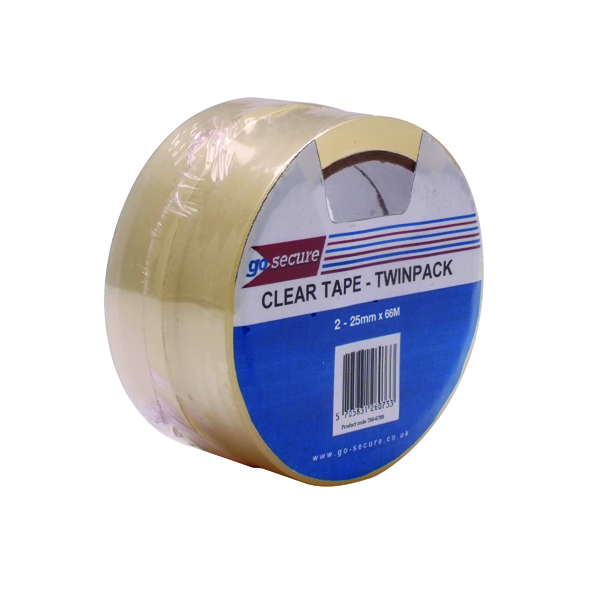Go Secure Twin Pack 25mm x 66m Clear Tape (6 Pack) PB02305