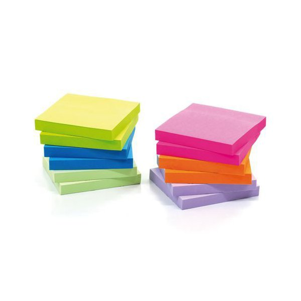 Initiative Extra Sticky Z-Notes 4 Assorted Neon Colours 76x76mm 90 Sheets Per Pad