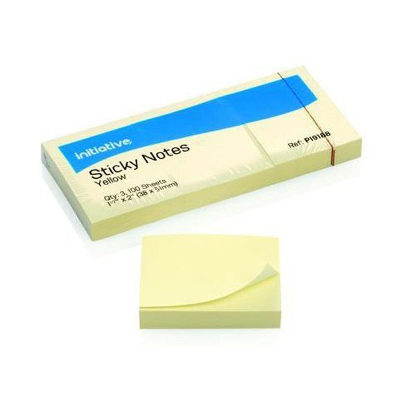 Initiative Sticky Notes 38 x 51mm 1.5x2 Inches Yellow (12 Pack)
