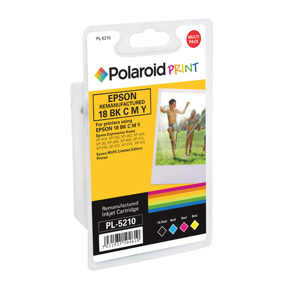 Polaroid Epson 18 Remanufactured Inkjet Cartridge KCMY (4 Pack) T180640-COMP PL