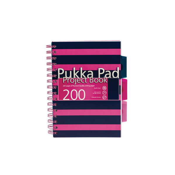 Pukka A5 Navy Project Book Navy/Pink (3 Pack) 6672-NVY