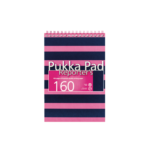 Pukka Navy and Pink 205 x 140mm Wirebound Reporter's Notebook (3 Pack) 6688-NVY