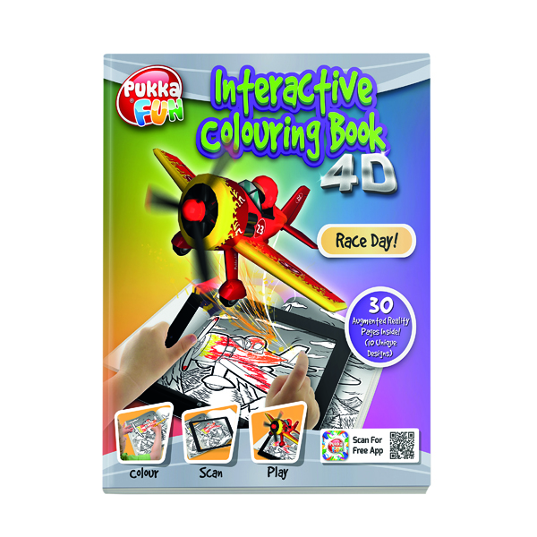 Pukka Pad Interactive Colouring Book 4D Race Day 8420-FUN