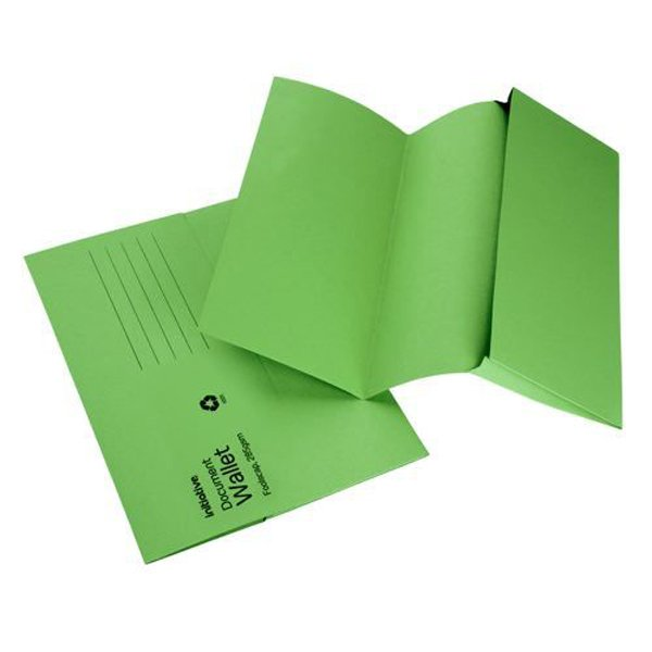 Initiative Document Wallet Medium Weight Foolscap Green (50 Pack)