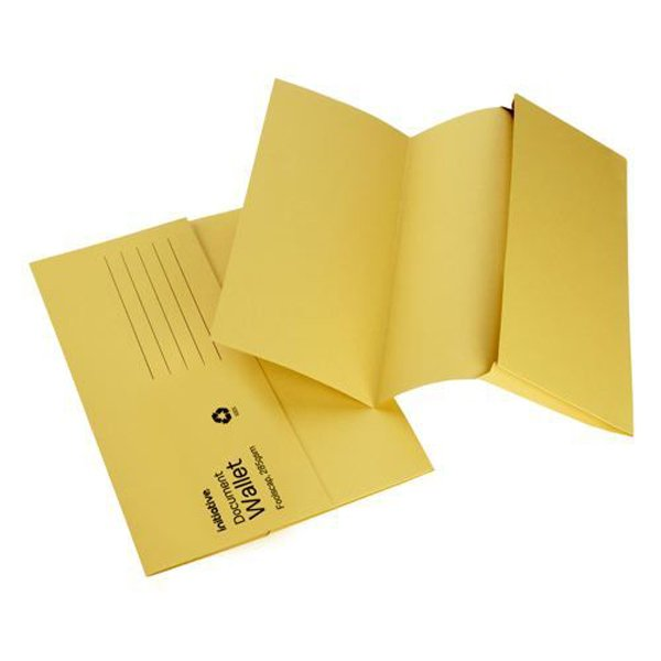 Initiative Document Wallet Medium Weight Foolscap Yellow (50 Pack)