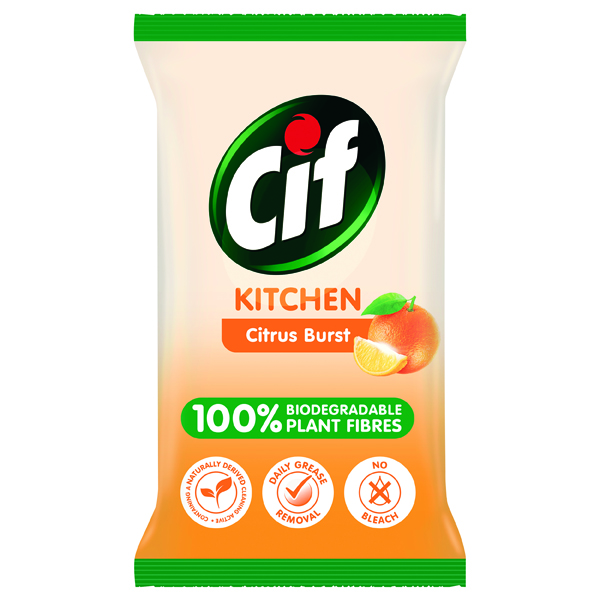 Cif Bio Kitchen Wipes Citrus Burst 80 Sheets (6 Pack) C001709