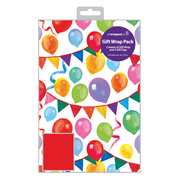 Regent Balloon Gift Wrap and Tag (12 Pack) F356