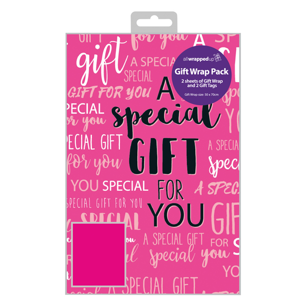 Regent Special Gift Text Gift Wrap and Tag (12 Pack) F349
