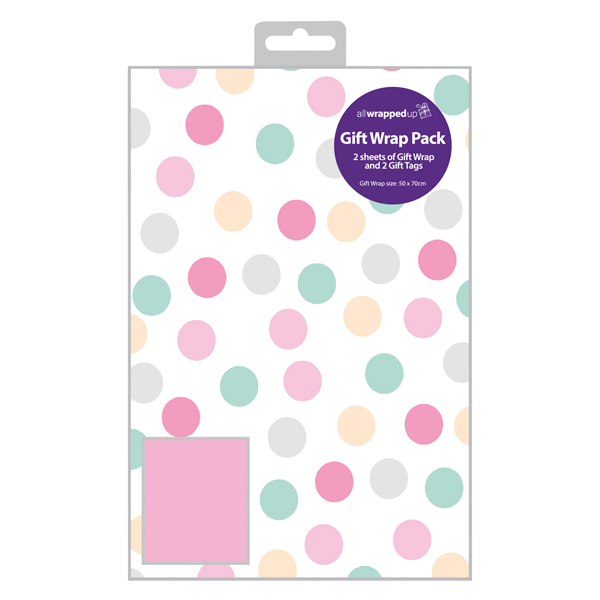 Regent Polka Dot Gift Wrap and Tag Pink (12 Pack) F607