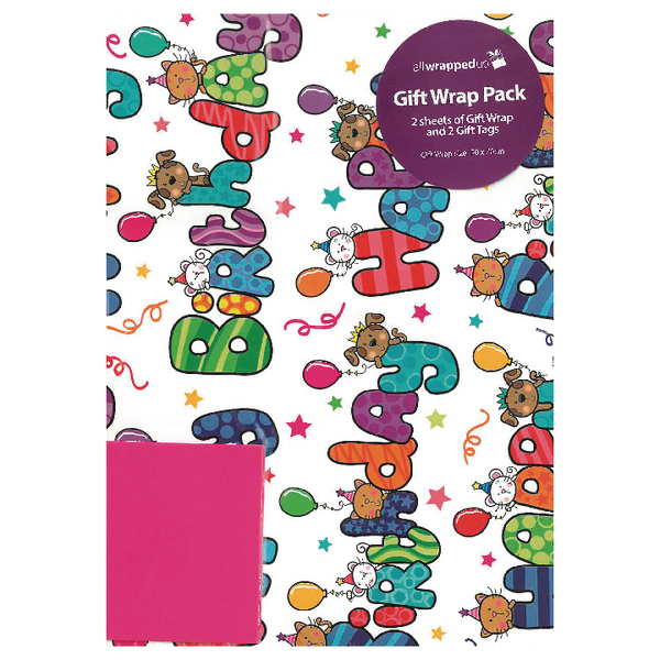 Regent Packaged Wrap Happy Birthday Text Wrap (12 Pack) F278