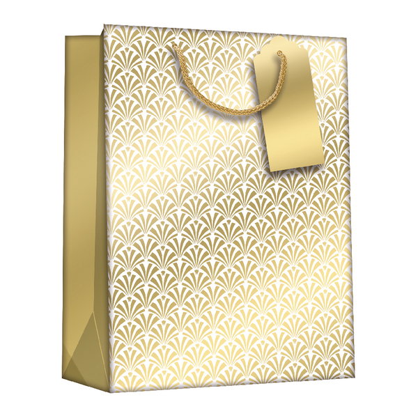 Gift Bags Gold Art Deco Medium (6 Pack) Z729M
