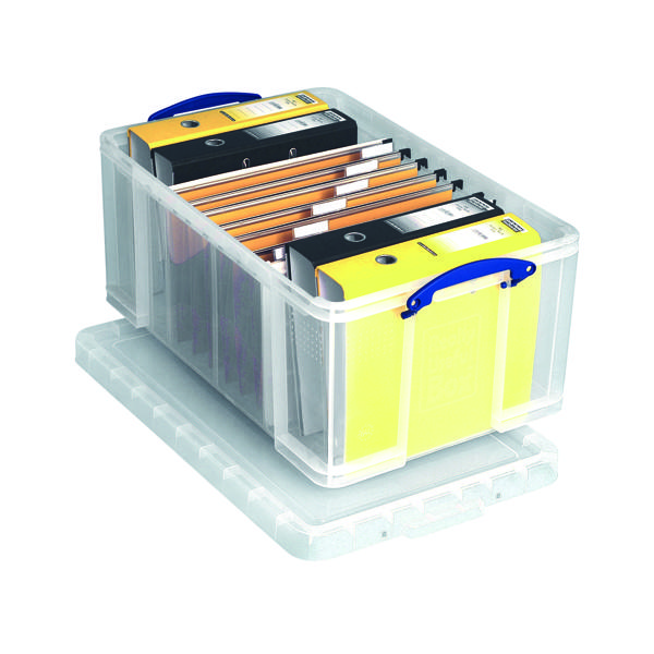 Really Useful 64L Plastic Storage Box W710xD440xH310mm Clear 64C