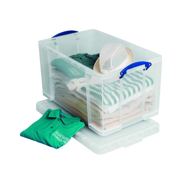 Really Useful 84L Plastic Storage Box W710xD440xH380mm Clear 84LC