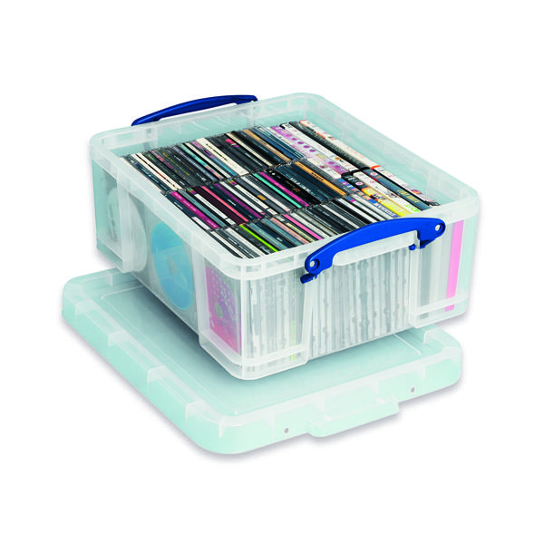Really Useful 18L Plastic Storage Box With Lid W480xD390xH200mm CD/​DVDs Clear EBCCD