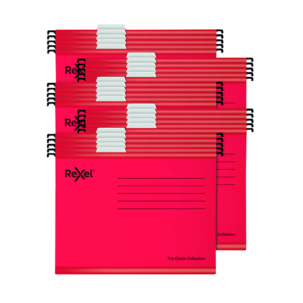 Rexel  Classic Suspension Files Foolscap Red (25 Pack) 2115592